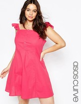 Asos Button Front Sundress With Frill Sleeve