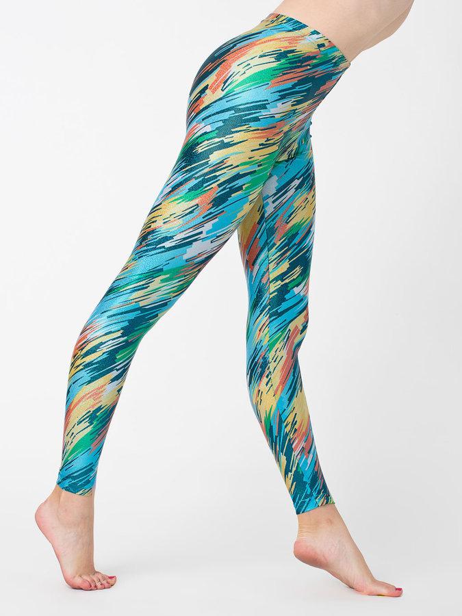 American Apparel Brush Printed Shiny Legging
