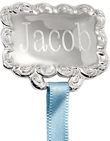 Silver-Plated & Blue Square Personalized Pacifier Holder