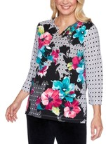 Alfred Dunner Petite Bright Idea Geometric Floral Print Top