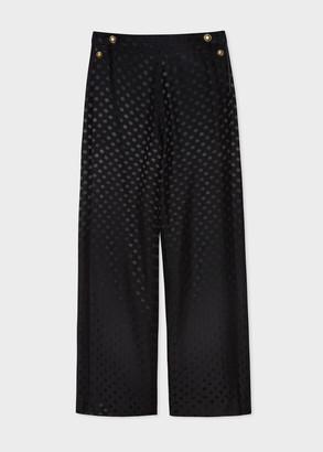 Paul Smith Women's Black Polka Dot Jacquard Wide Leg Pants