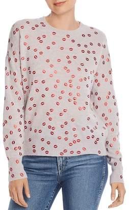 Aqua Foil Lips Print Cashmere Sweater - 100% Exclusive