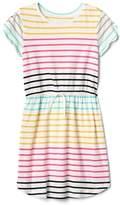 Print cinched-waist jersey dress