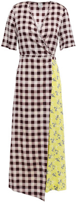 Baum und Pferdgarten Floral And Gingham-printed Stretch-silk Twill Midi Dress
