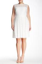 London Times Daisy Dot Sleeveless Full Skirt Dress (Plus Size)