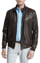 Isaia Reversible Leather/Plaid Zip-Up Bomber Jacket, Brown
