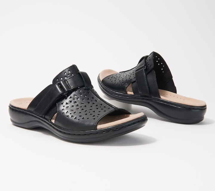 Clarks Collection Leather Slide Sandals