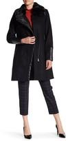Rachel Roy Faux Fur Trim Asymmetrical Wool Blend Coat