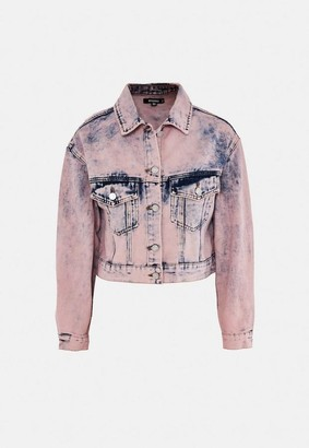 Missguided Pink Acid Wash Oversized Denim Jacket