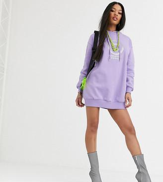 Asos Design DESIGN x Christian Cowan hooded logo sweat dress-Purple