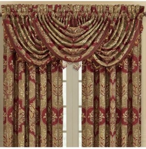 J Queen New York J Queen Maribella Crimson Waterfall Valance Bedding