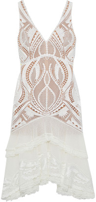 Jonathan Simkhai Tiered Embroidered Tulle-paneled Macrame Lace Dress