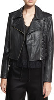 McQ by Alexander McQueen Leather Moto Lace-Up Jacket, Black