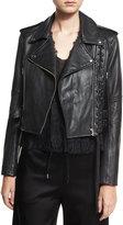 McQ Leather Moto Lace-Up Jacket, Black