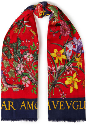 Gucci Frayed Printed Wool And Silk-blend Scarf