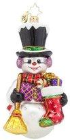 Christopher Radko Snowy Sweeper Snowman Glass Christmas Ornament