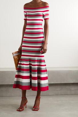 OSCAR DE LA RENTA - Off-the-shoulder Striped Knitted Midi Dress - Red