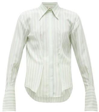 Petar Petrov Chablis Striped Pintucked Silk Blouse - Womens - Blue White