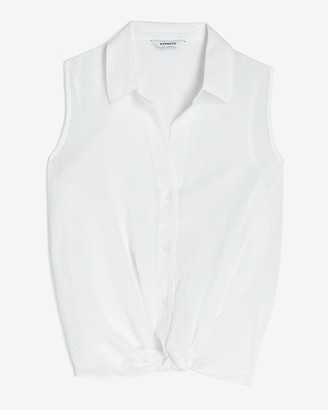 Express Sleeveless Twist Front Shirt