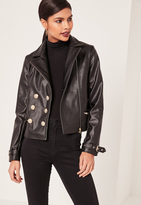 Missguided Black Military Faux Leather Biker Jacket