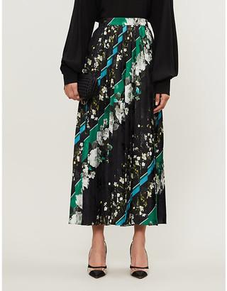Erdem Nolana floral-print pleated satin midi skirt
