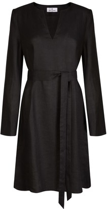 Cat Turner London Black Linen Dress With Sleeves