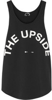 The Upside Issy Printed Cotton-jersey Tank - Black