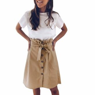 Kimodo Ccl KIMODO Summer Women's Pencil Skirts Vintage Solid Color Skirt High Waist Strap Bow Button Front Split Belted A-Line Work Midi Skirt Khaki