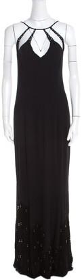 Escada Black Crepe Silk Sequin Embellished Fringed Hem Evening Dress M