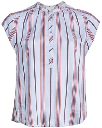 Joie Hassie Striped Collarless Blouse