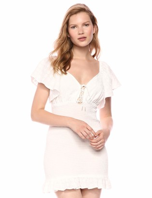 Finders Keepers findersKEEPERS Women's Riviera Cap Sleeve Lace-up Ruffle Trim Short Dress