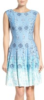 Gabby Skye Print Scuba Fit & Flare Dress