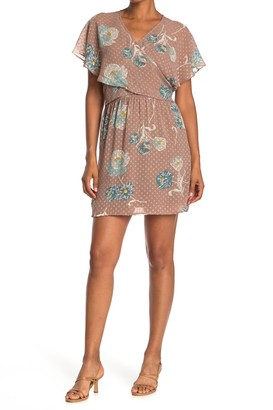 Dr2 By Daniel Rainn Flutter Sleeve Wrap Dress