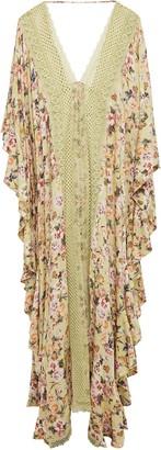 Charo Ruiz Ibiza Dalia Crocheted Lace-paneled Floral-print Crepe De Chine Kaftan