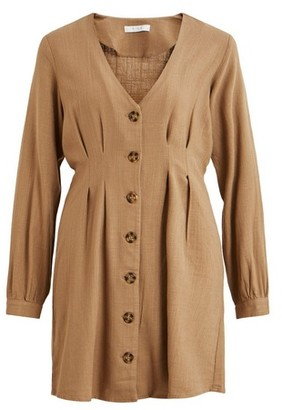 Dorothy Perkins Womens Vila Beige Long Sleeve Linen Blend Shirt Dress, Beige