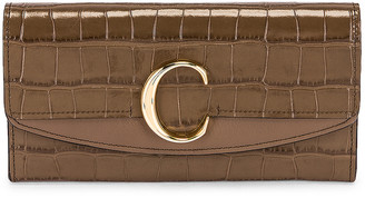 Chloé C Embossed Croc Clutch in Army Green | FWRD