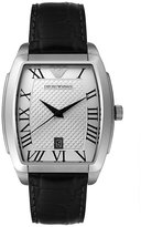 Emporio Armani Men's AR0933 Stainless Steel and Black Leather Watch