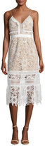 Self-Portrait Sleeveless Floral-Lace Midi Dress, White