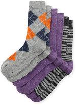 Neiman Marcus Three-Pair Wardrobe Sock Set, Assorted Purple/Gray