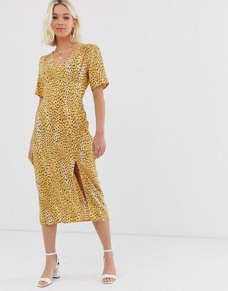 Miss Selfridge blurry cheetah midi tea dress-Yellow