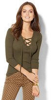 New York & Co. Lace-Up Ribbed-Knit Pullover Sweater