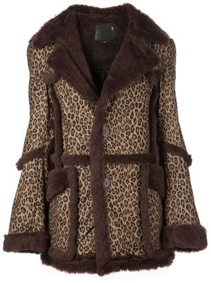 R 13 Leopard-Print Coat