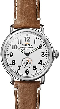 Shinola The Runwell Tan Leather Strap Watch, 41mm