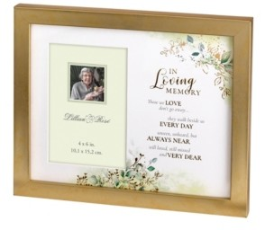 Lillian Rose Botanical Themed Memorial Photo Frame with Sympathy Verse