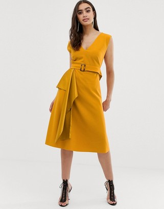 Asos Design DESIGN midi satin mix skater dress with belt-Yellow