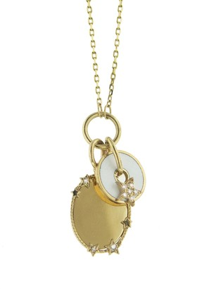Foundrae White Enamel Star Strength Disk Drop and Engravable Oval Medallion on Thread Chain Necklace