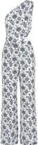 Tamara Mellon One-shoulder printed silk-crepe jumpsuit