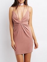 Charlotte Russe Strappy Pleated Bodycon Dress