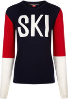 Perfect Moment Navy Wool Colour Block Ski Sweater