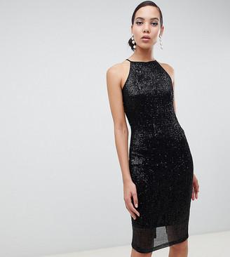 Paper Dolls Tall sequin midi dress in black